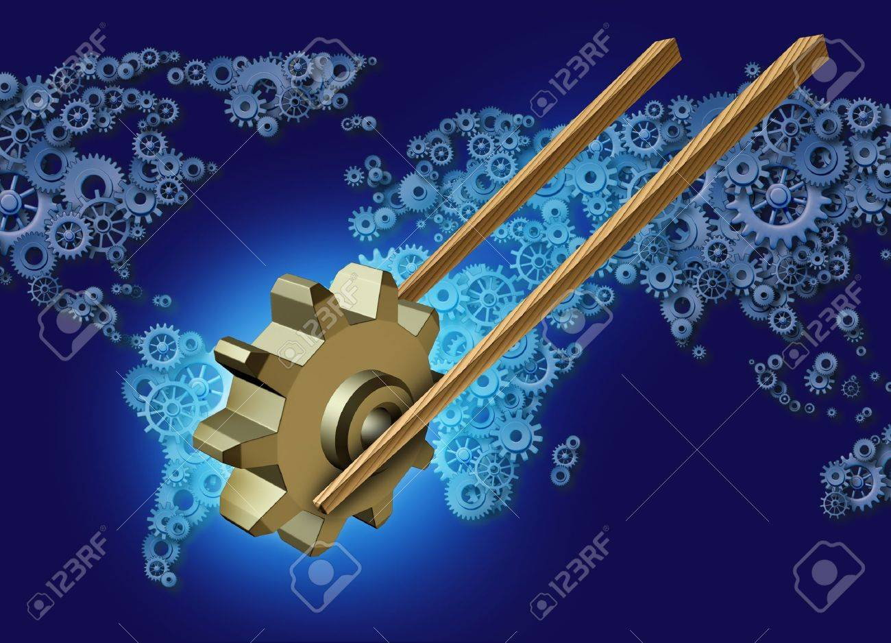 Asia export business concept for global trade as a pair of wooden chopsticks transporting a three dimensional gear or cog industry icon on a group of gears and cogs shaped as a world map for Asian global partners Stock Photo - 20948354