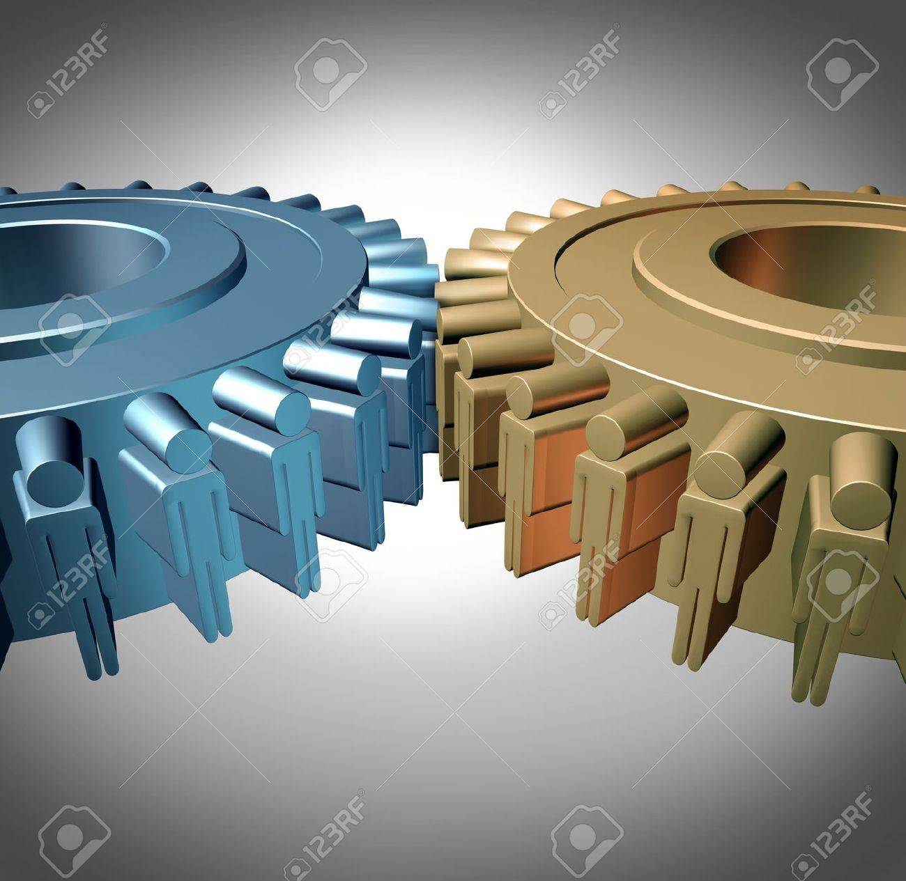 Business Teamwork concept with two merged gears or cog wheels shaped as business people icons in a meeting connected together as an organized working partnership for corporate strength and industry success Stock Photo - 20948382