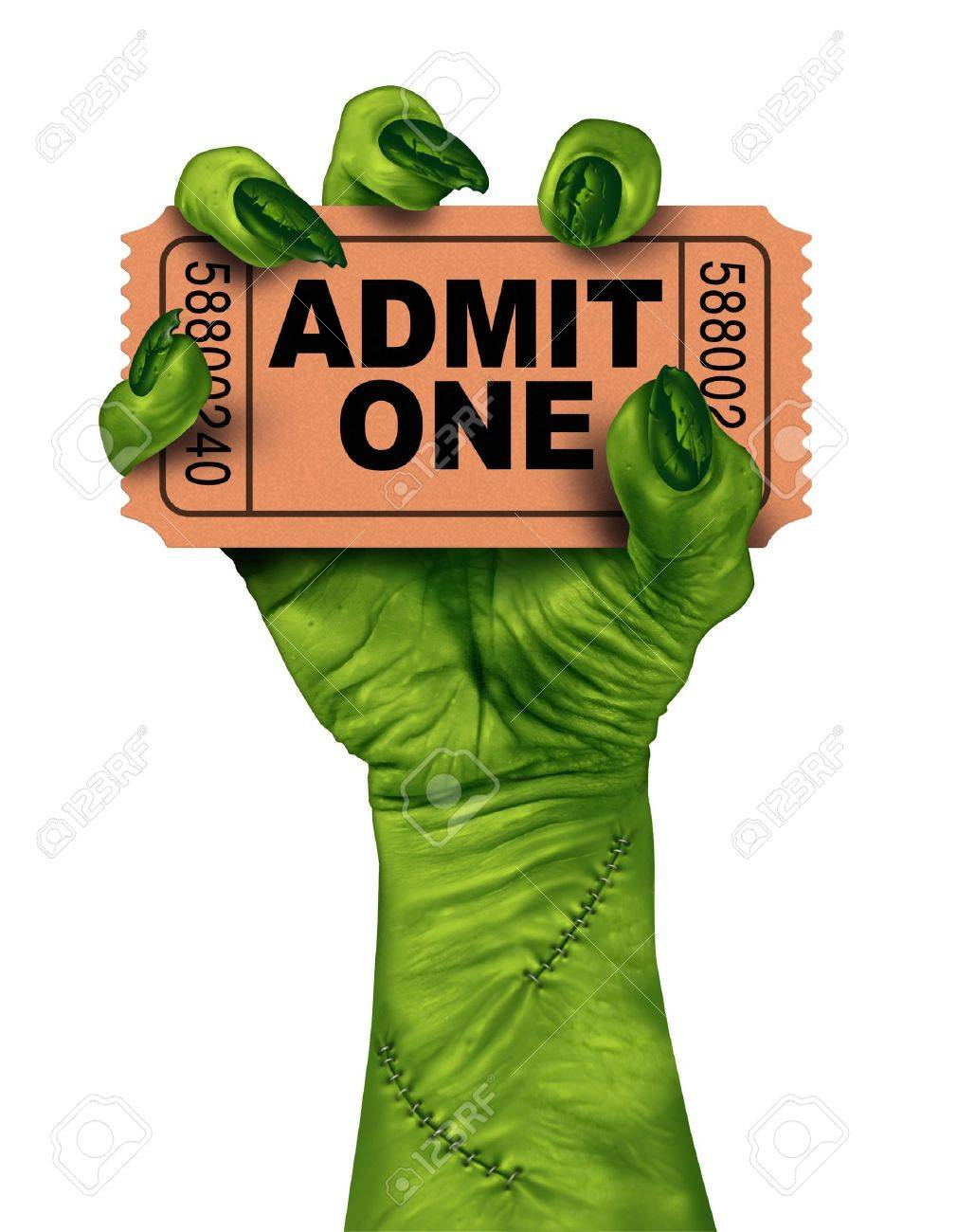 Monster movies with a zombie hand holding a cinema or theater ticket stub as a creepy halloween or scary entertainment symbol with textured green skin and stitches isolated on a white background Stock Photo - 20948527