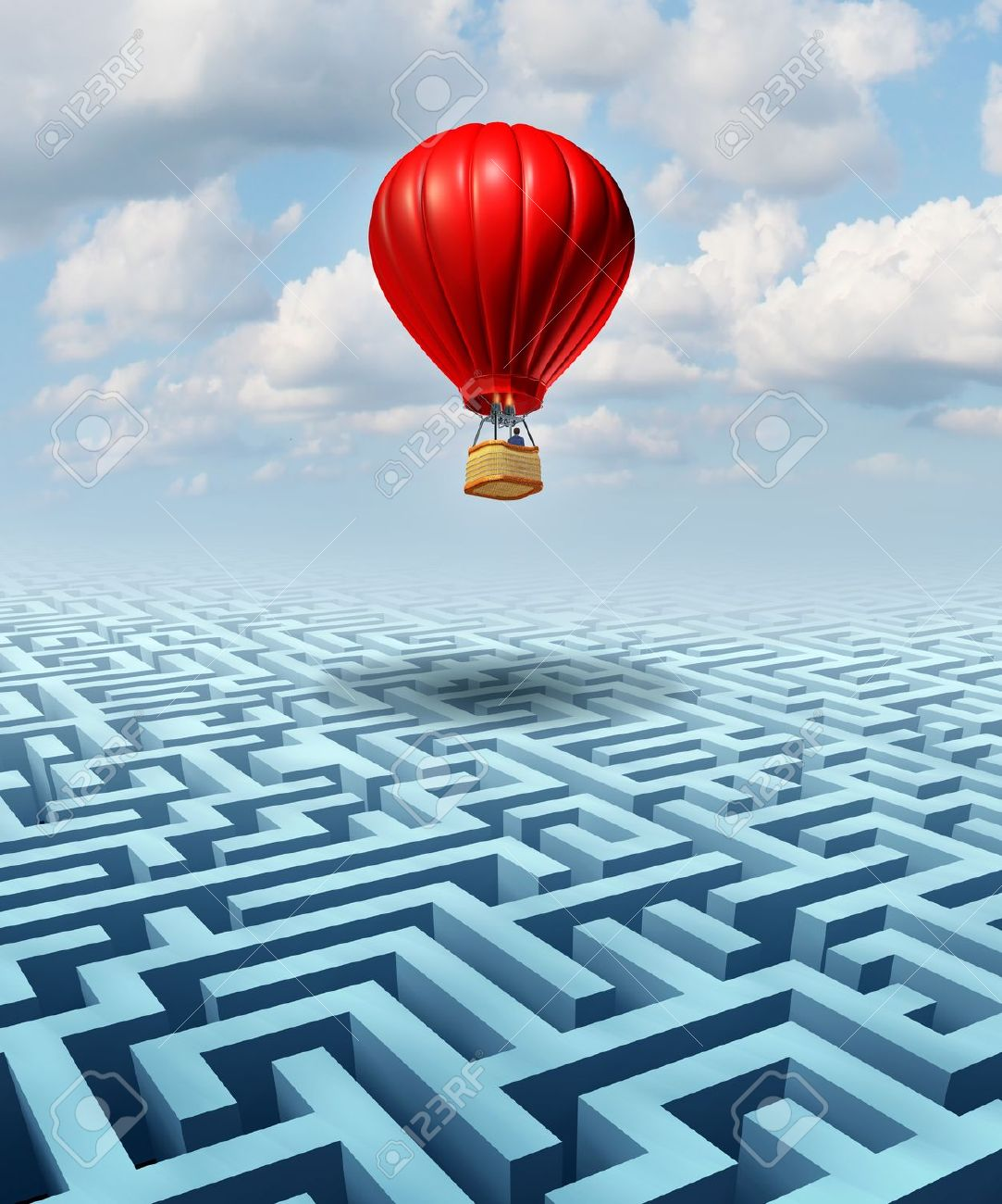 Rise above the challenges of business and life concept with a red hot air balloon with a businessman inside flying over a confusing maze or labyrinth puzzle as a metaphor for conquering adversity success with leadership Stock Photo - 21100474
