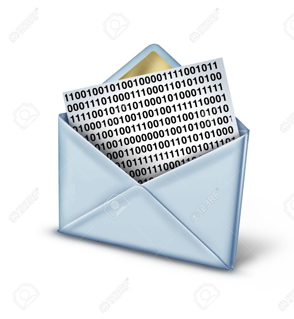 Digital message technology concept with a letter or envelope with a binary code note symbol being sent as a text message or email through social networking as an icon of modern communcation between computer devices Stock Photo - 21490992