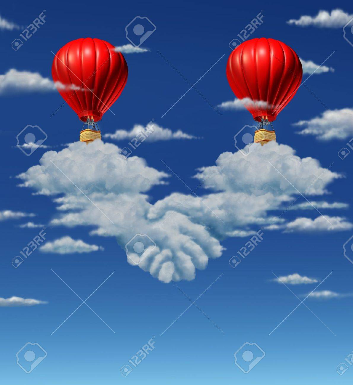 High stakes agreement business concept with two red hot air balloons high stakes agreement business concept with two red hot air balloons with businessmen coming together and platinumwayz