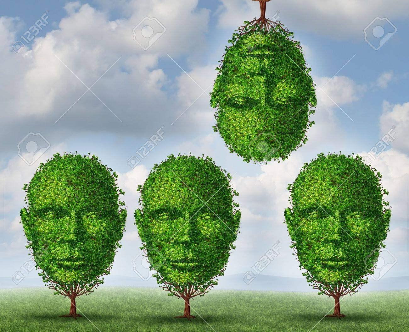 Thinking different creativity concept with a group of trees shaped as a human head with one tree upside down as a symbol freedom and of out of the box creative solutions on a summer sky background Stock Photo - 21492060