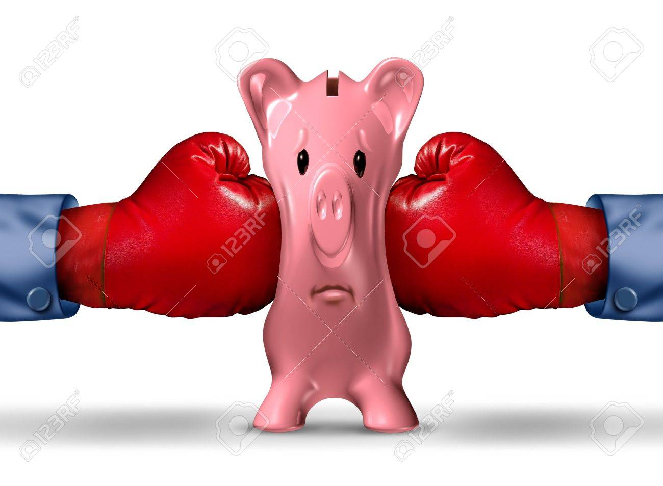Financial money pressure and money crunch business concept with two red boxing gloves putting the squeeze on a pink piggy bank under a finance crisis pressure as an icon of savings and budget problems Stock Photo - 21492066