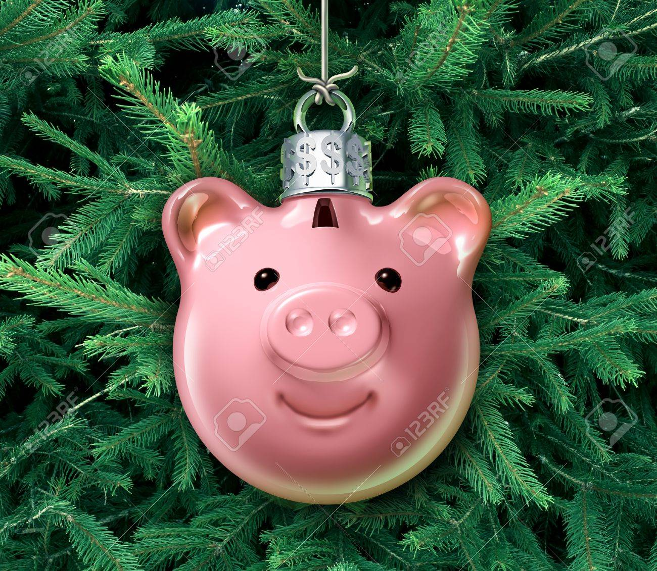 How to start a christmas decor business - Christmas Business Concept With A Holiday Tree Ornament Decoration Shaped As A Piggy Bank Over A