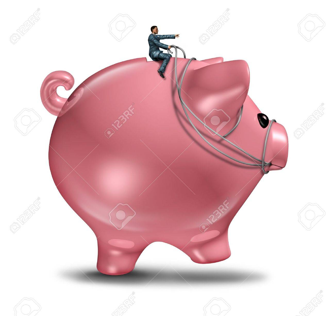 Financial management and wealth consulting business concept as a businessman on a piggy bank  wearing a harness riding and controlling the budget direction of savings and invested money for future wealth success Stock Photo - 21492098