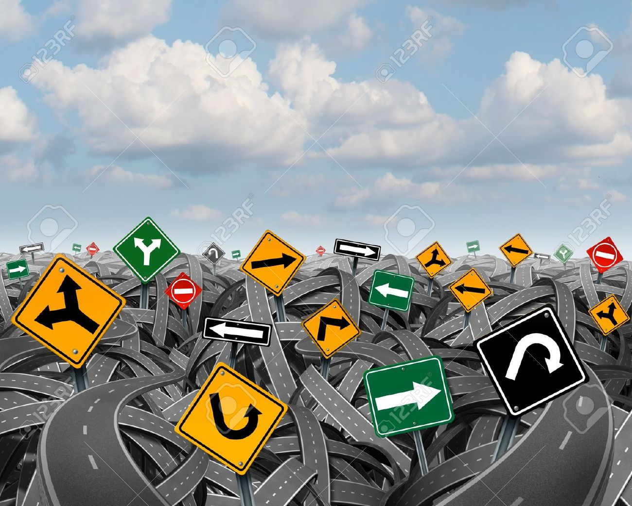 Direction uncertainty with a landscape of confused tangled roads and highways and a group of traffic signs competing for influence as a symbol of the challenges of planning a strategy for success Stock Photo - 21492159