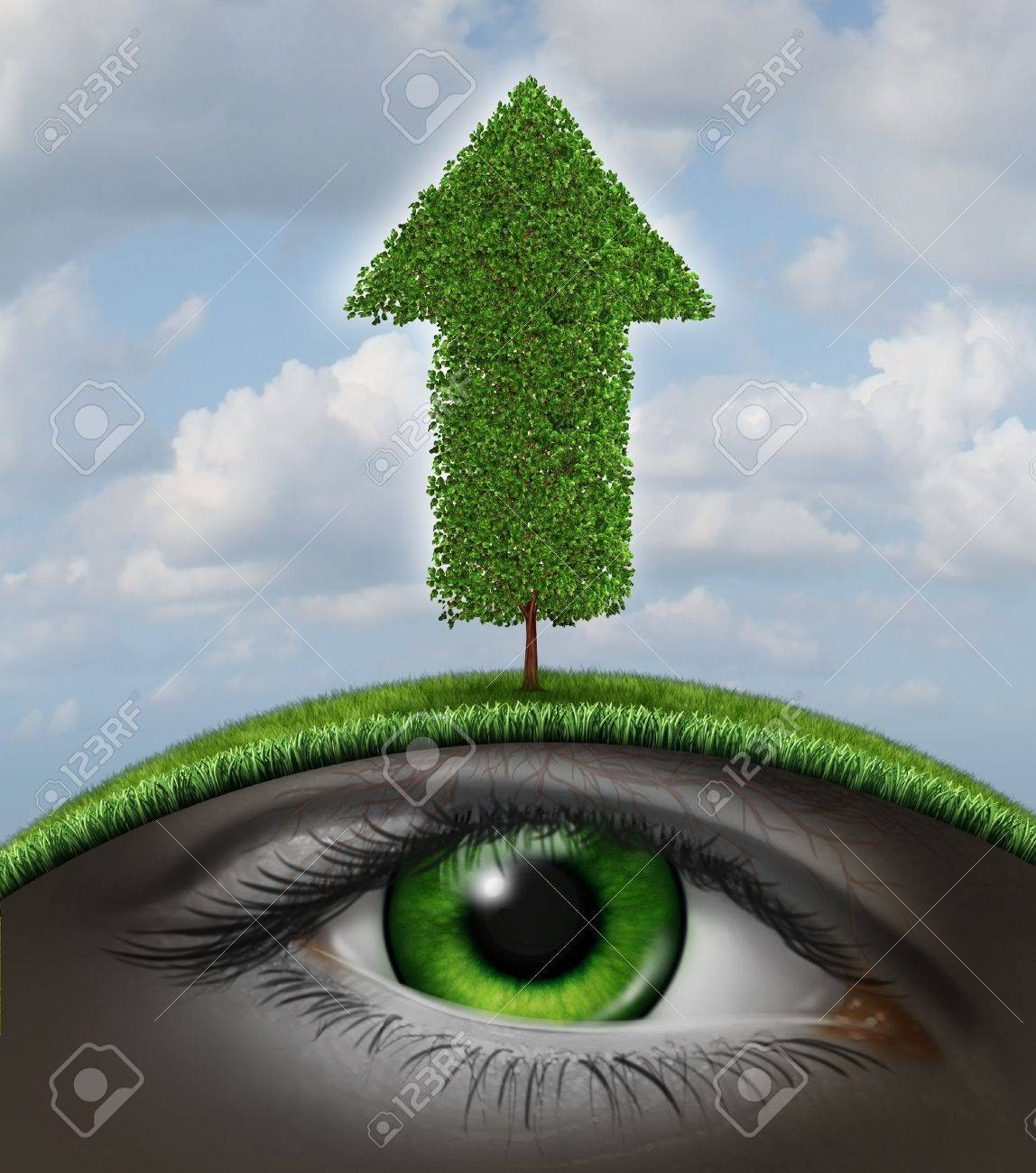 Growth vision business concept as a tree in the shape of an upward arrow and a human eye underground growing in the roots as a symbol of investment success with seed money for new financial ventures Stock Photo - 21492138