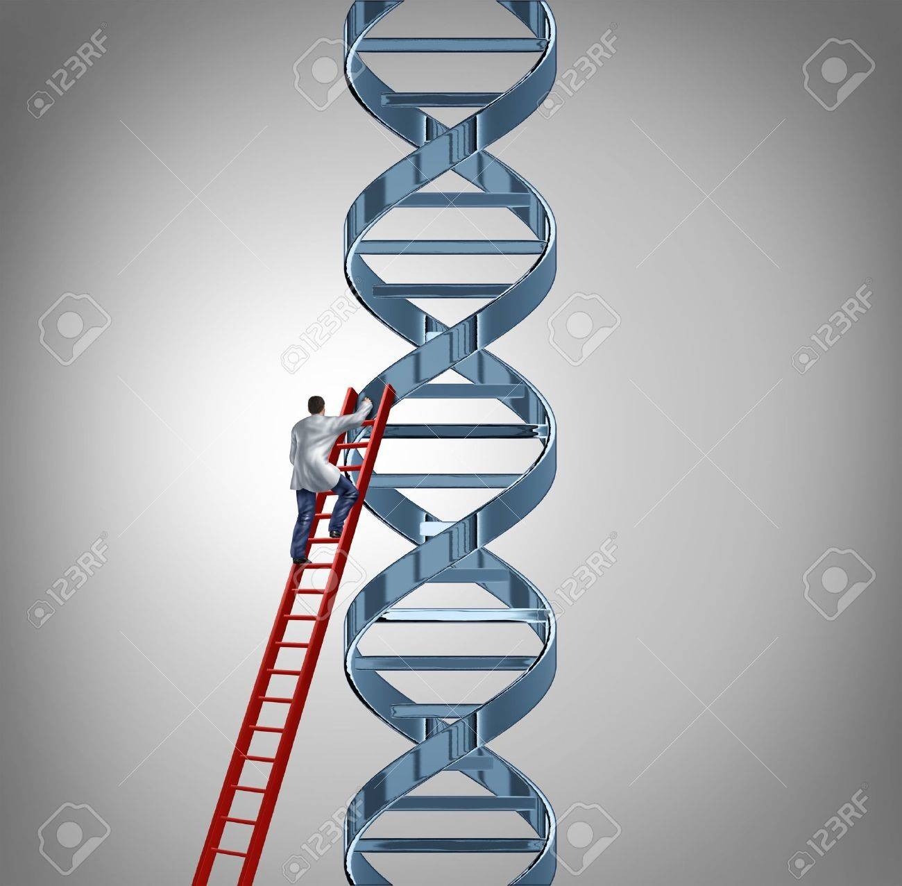 Genetic research and testing with a doctor or scientist climbing a red ladder to study a DNA strand of genetic code to help discover a cure for human disease and illness as a symbol of health care medicine and medical technology Stock Photo - 21743096