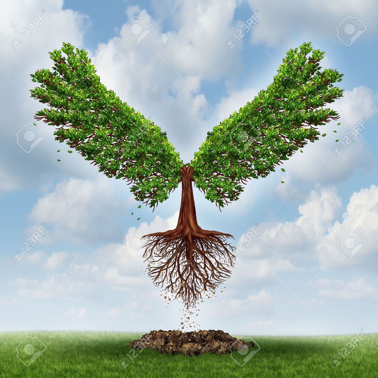 Moving up and the power of success with a growing  tree in the shape of wingsthat has emerged out of the ground and has taken flight upward to opportunity as a business concept of the evolution of successful leadership and strategic planning Stock Photo - 21743114