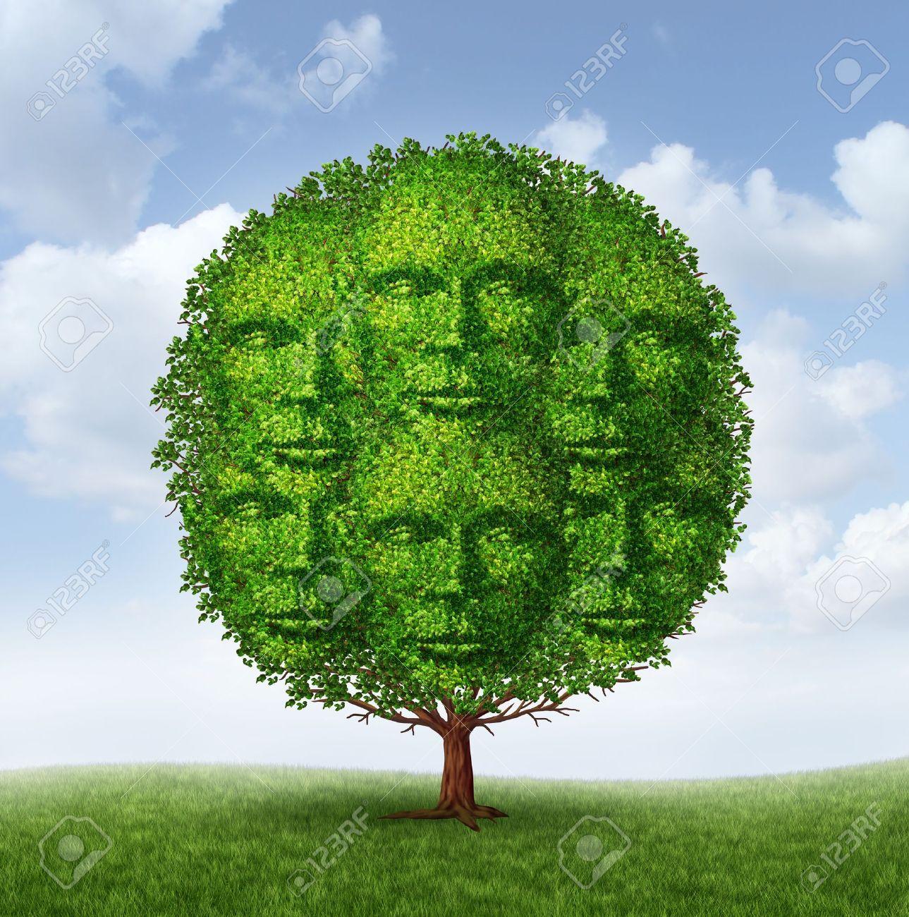 Creciente Grupo De La Comunidad Como Un árbol Con Hojas Verdes En ...