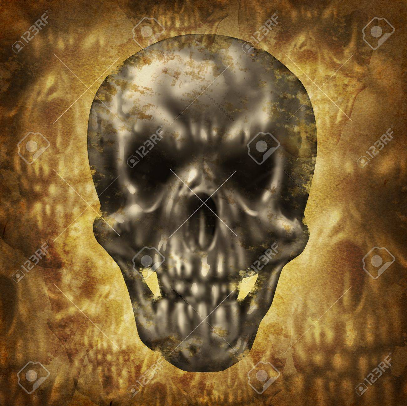 Spooky huan skull concept on an old dirty grunge background on parchment paper texture as a fantasy halloween symbol of zombies and ghosts Stock Photo - 21971155
