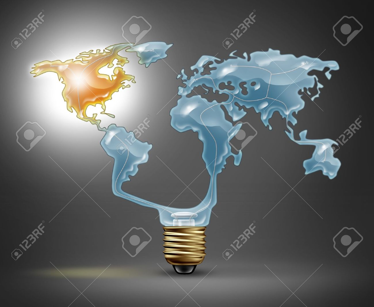 North america recovery with a light bulb in the shape of the world north america recovery with a light bulb in the shape of the world map representing the global economy with the northern american continent illuminated with gumiabroncs Image collections