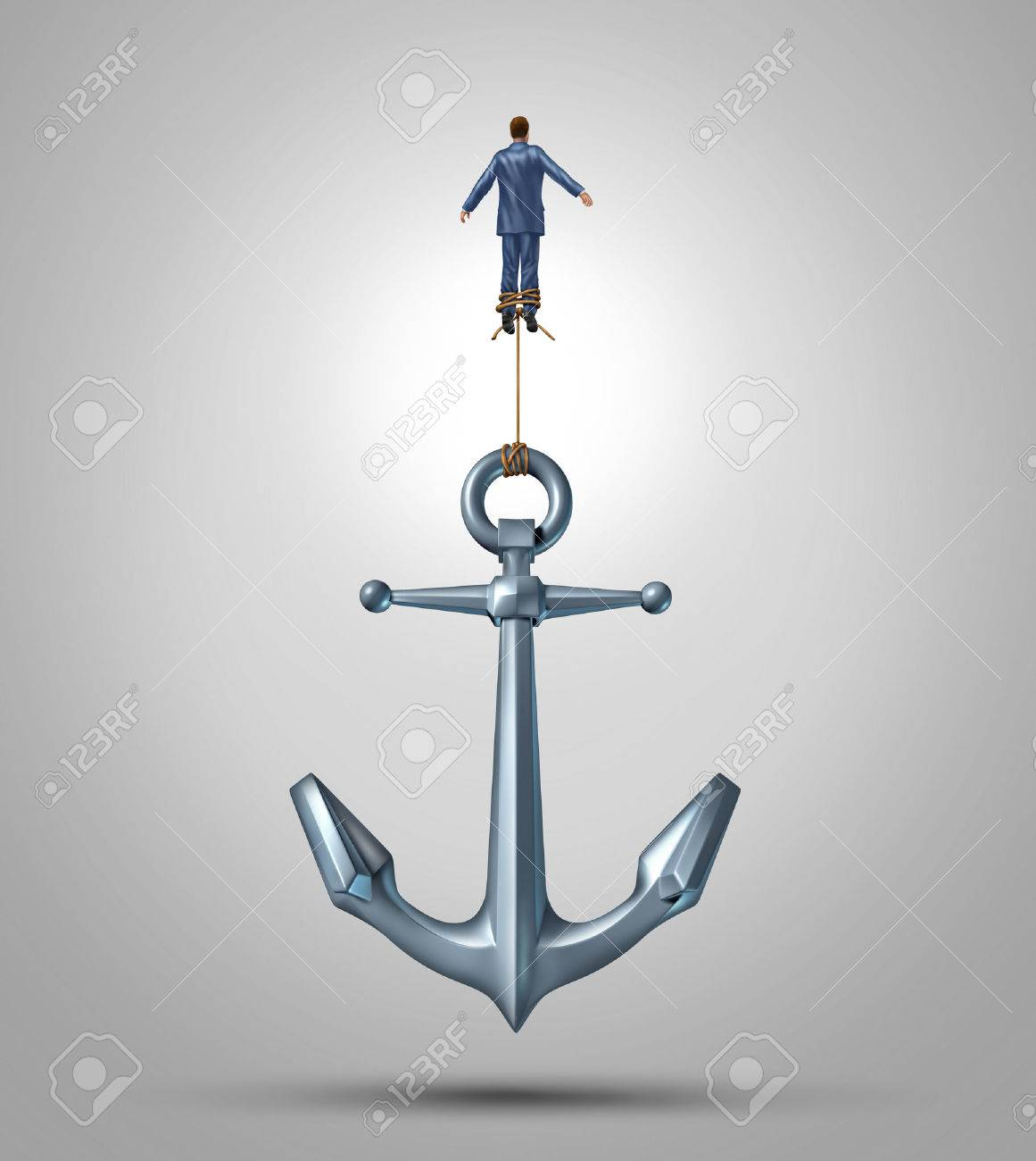 Overcoming limitations and adversity as a business concept of liberation confidence and courage to escape the obstacles of life as a businessman rising up lifting a heavy anchor achieving success with the power of belief Stock Photo - 22215819