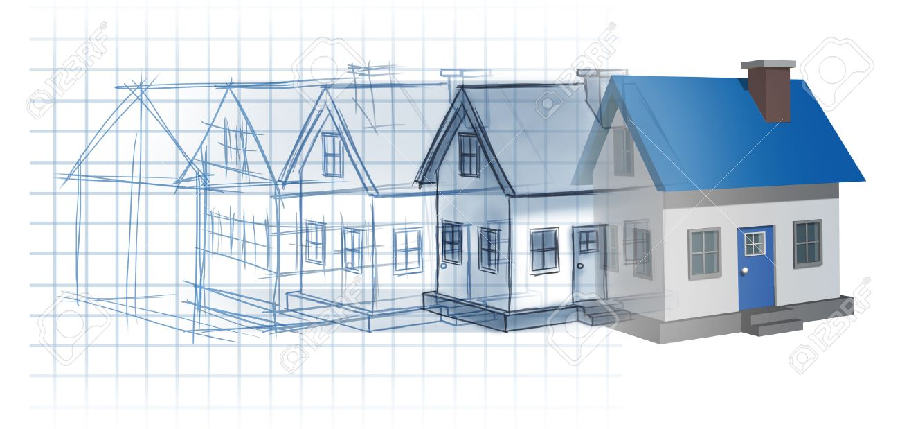 Residential Development Construction Design And Planning Concept As A  Preliminary Blueprint Drawing Sketch Evolving To A