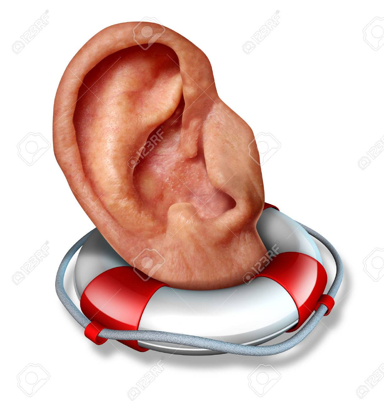 Saving your hearing health care concept with a human ear in a lifesaver or life belt as a lifeline icon to  protect the function of  to hear sounds and noise as a medical symbol and a social icon to communicate listen and pay attention Stock Photo - 22667042