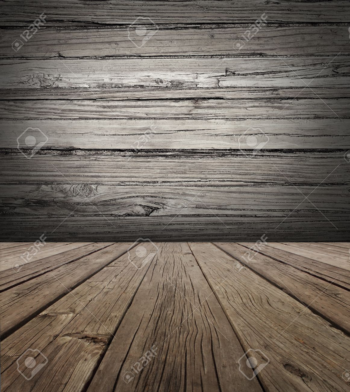 Old wood stage background with vertical natural distressed antique wooden plank floor and horizontal weathered wall as an aged grunge back drop  with copy space Stock Photo - 22667277