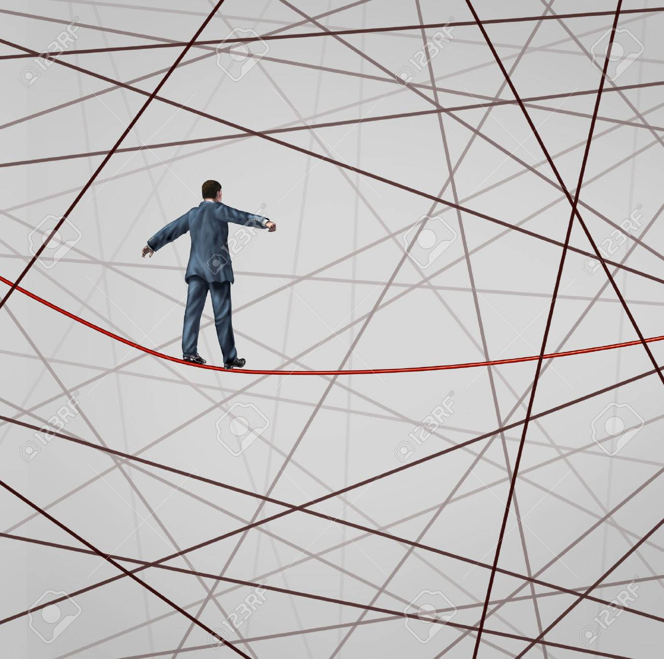 Focused On Strategy With A Businessman As A High Wire Tight Rope ...