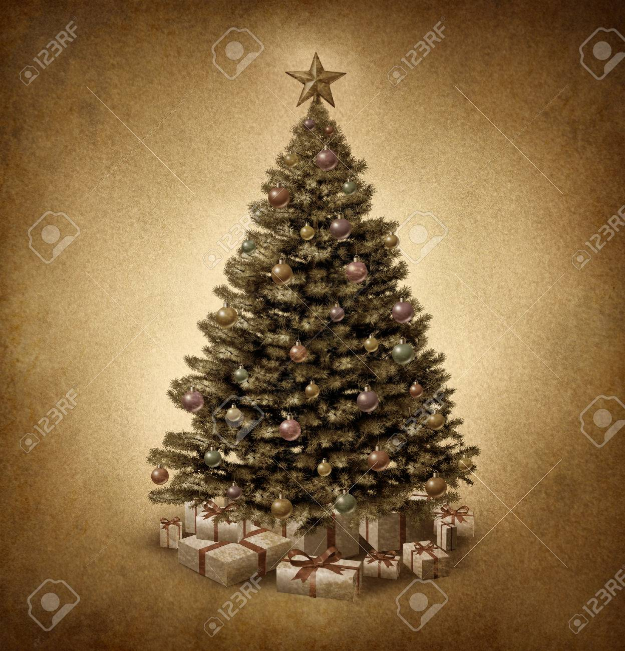 Old Fashioned Christmas Pictures.Old Fashioned Christmas Tree On Vintage Parchment Paper Grunge