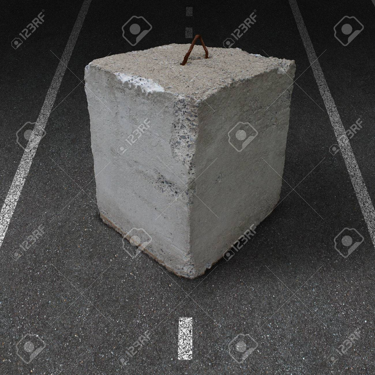 Roadblock obstacle and barrier business concept with a huge cement or concrete cube barricade blocking a road or highway as a symbol of restricted opportunity or political gridlock resulting in government or financial system shutdown Stock Photo - 22993136
