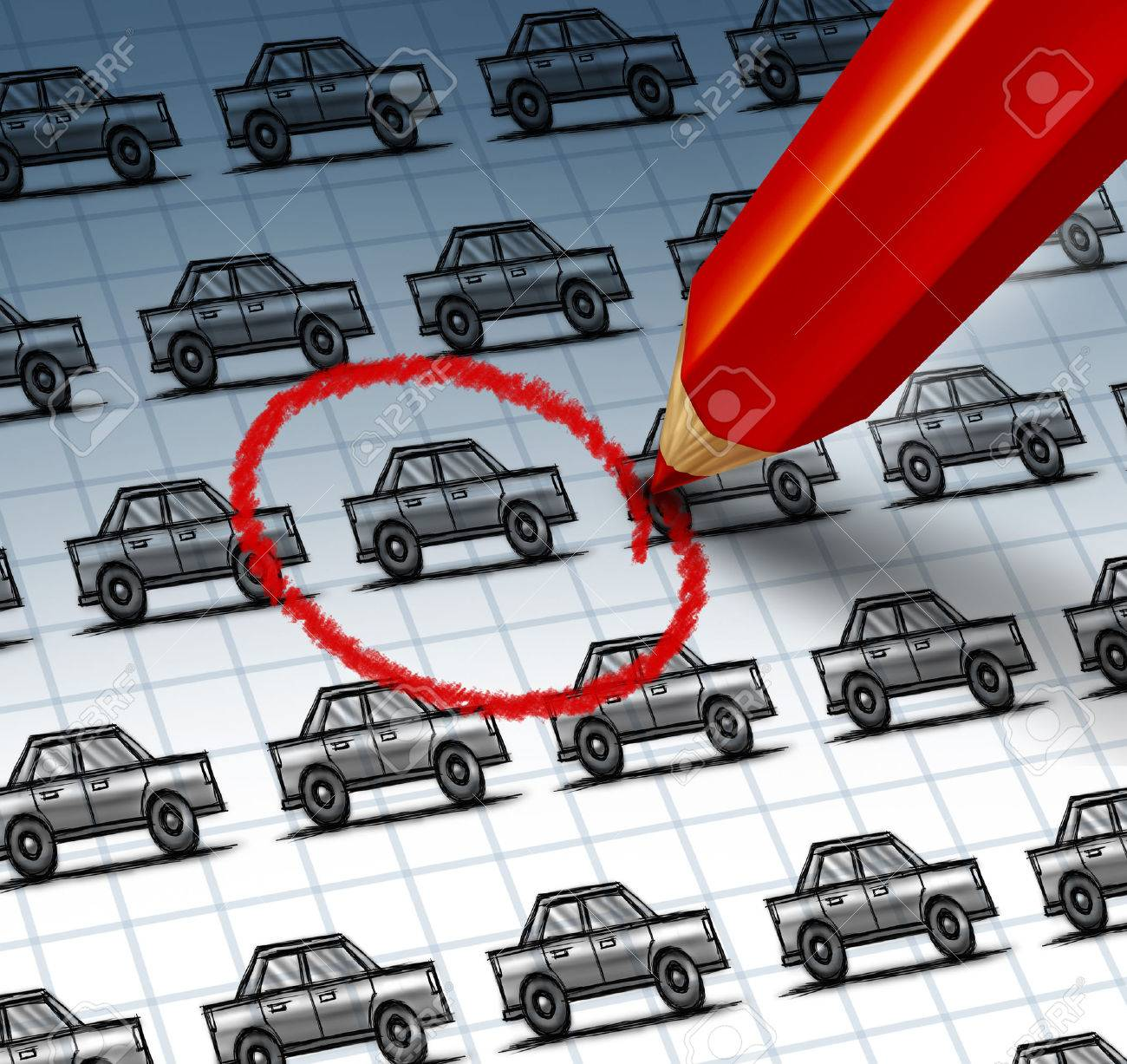 Car shopping concept and auto insurance search symbol with a red pencil crayon highlighting a drawing from a group of cars as an icon of finding the perfect vehicle at a used or new dealership with internet searching Stock Photo - 22986358