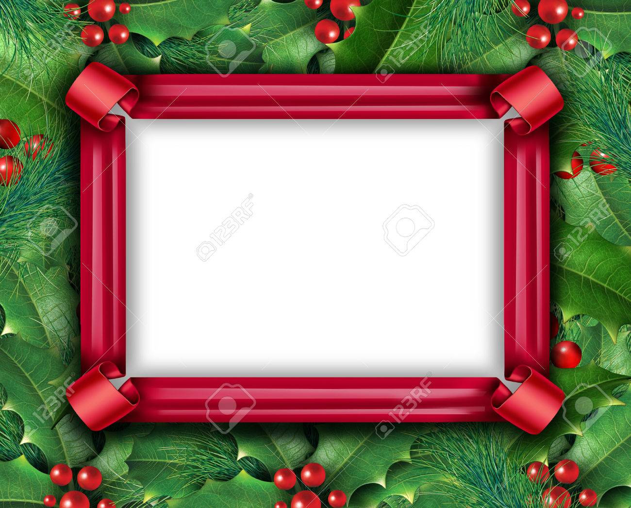 Winter holiday frame with a red ribbon and christmas holly with winter holiday frame with a red ribbon and christmas holly with with red berries and green buycottarizona Image collections