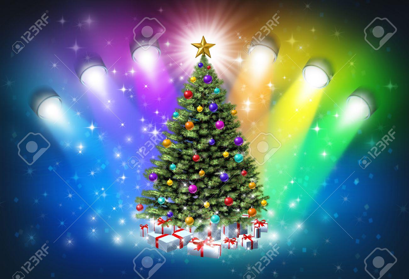 Christmas Spotlights With Rainbow Colors As A Festive Magical