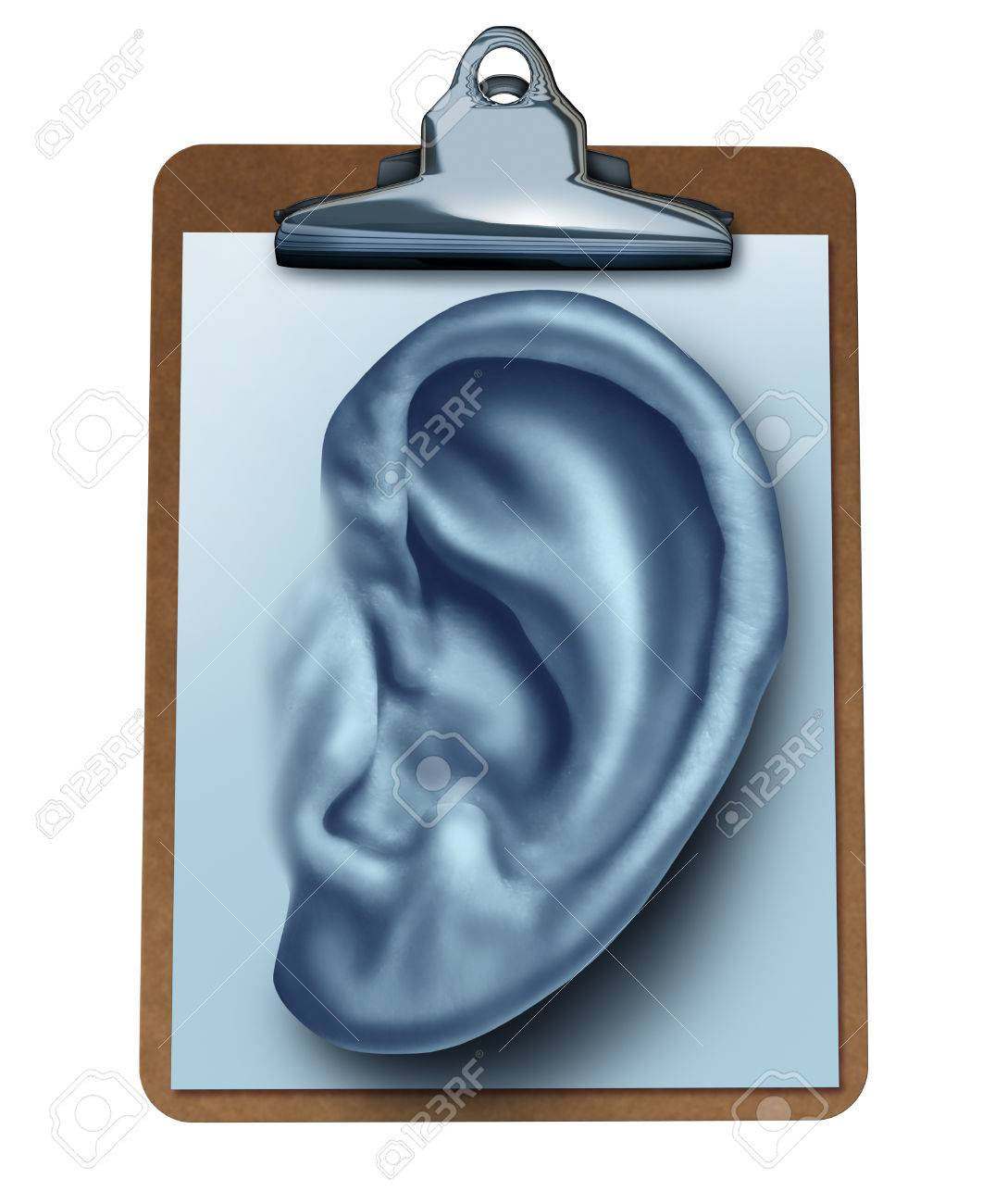 Customer Survey business concept as an office clipboard with a note paper in the shape of a human ear as a metaphor for listening to the clients opinion and satisfaction feedback found in reviews and service ratings isolated on white - 22986364