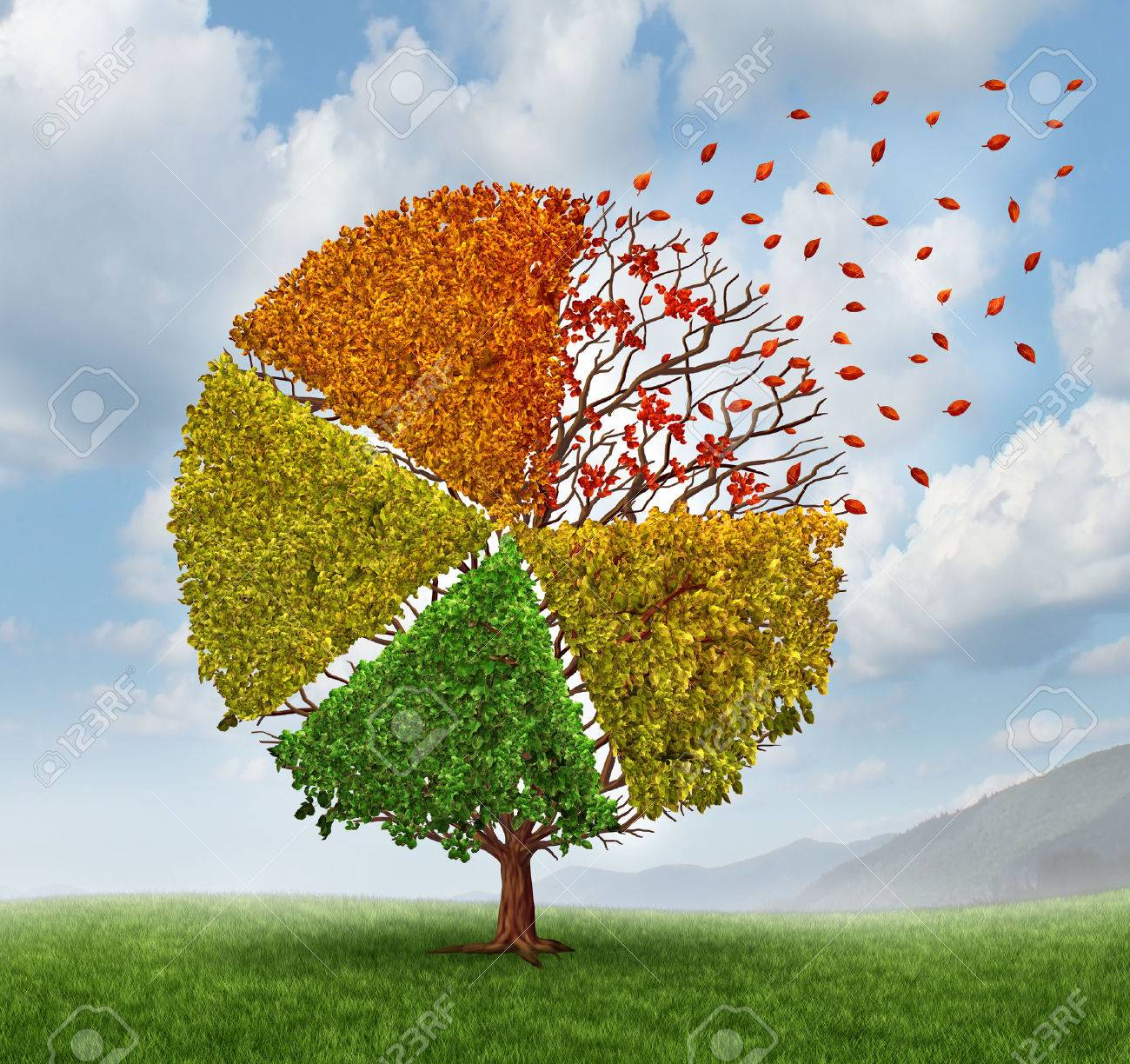 Changing market concept and  losing business pie chart as an aging green tree with leaves turning yellow to red and falling off as a change metaphor for investing conditions as a financial graph chart symbol of economic challenges. Stock Photo - 23843267