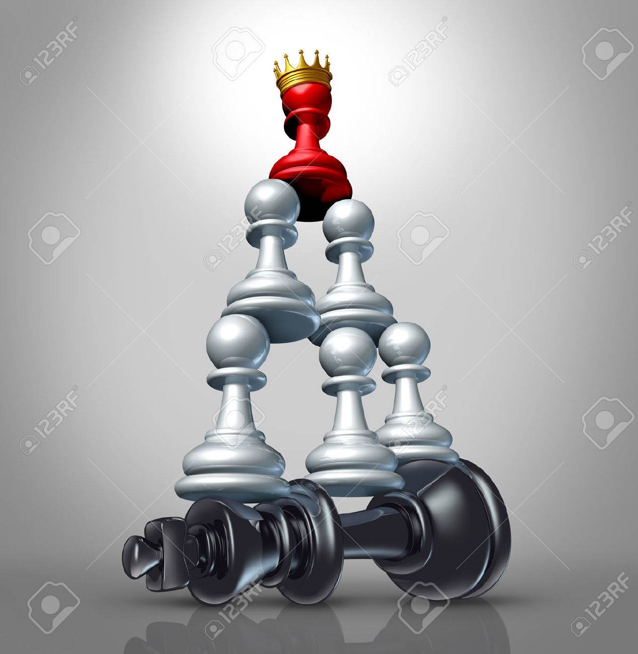 Collaboration strategy and team victory as a business concept with a chess game metaphor for changing market leadership by teaming up in partnership and working together to dominate a powerful competitor Stock Photo - 23843281