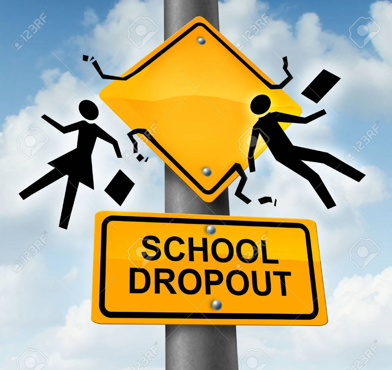 School dropout concept and dropping out of the education system school dropout concept and dropping out of the education system as a yellow road traffic sign biocorpaavc Choice Image