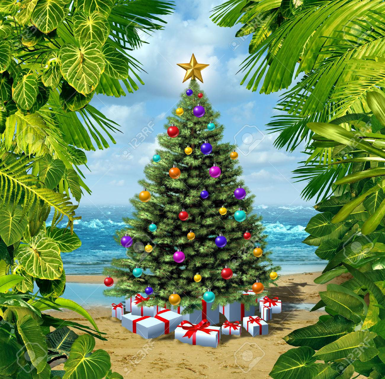 Christmas Tree Beach Celebration On A Tropical Island With Presents
