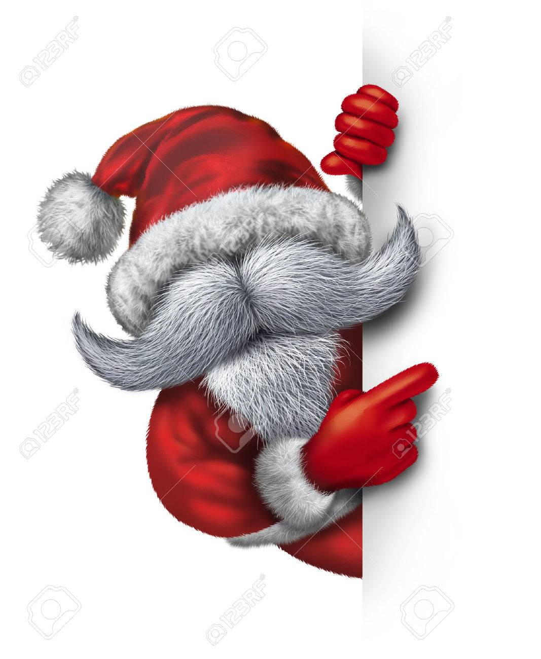 Santa Claus Holding A Vertical Blank Sign As Mascot Concept With Cheerful Huge White