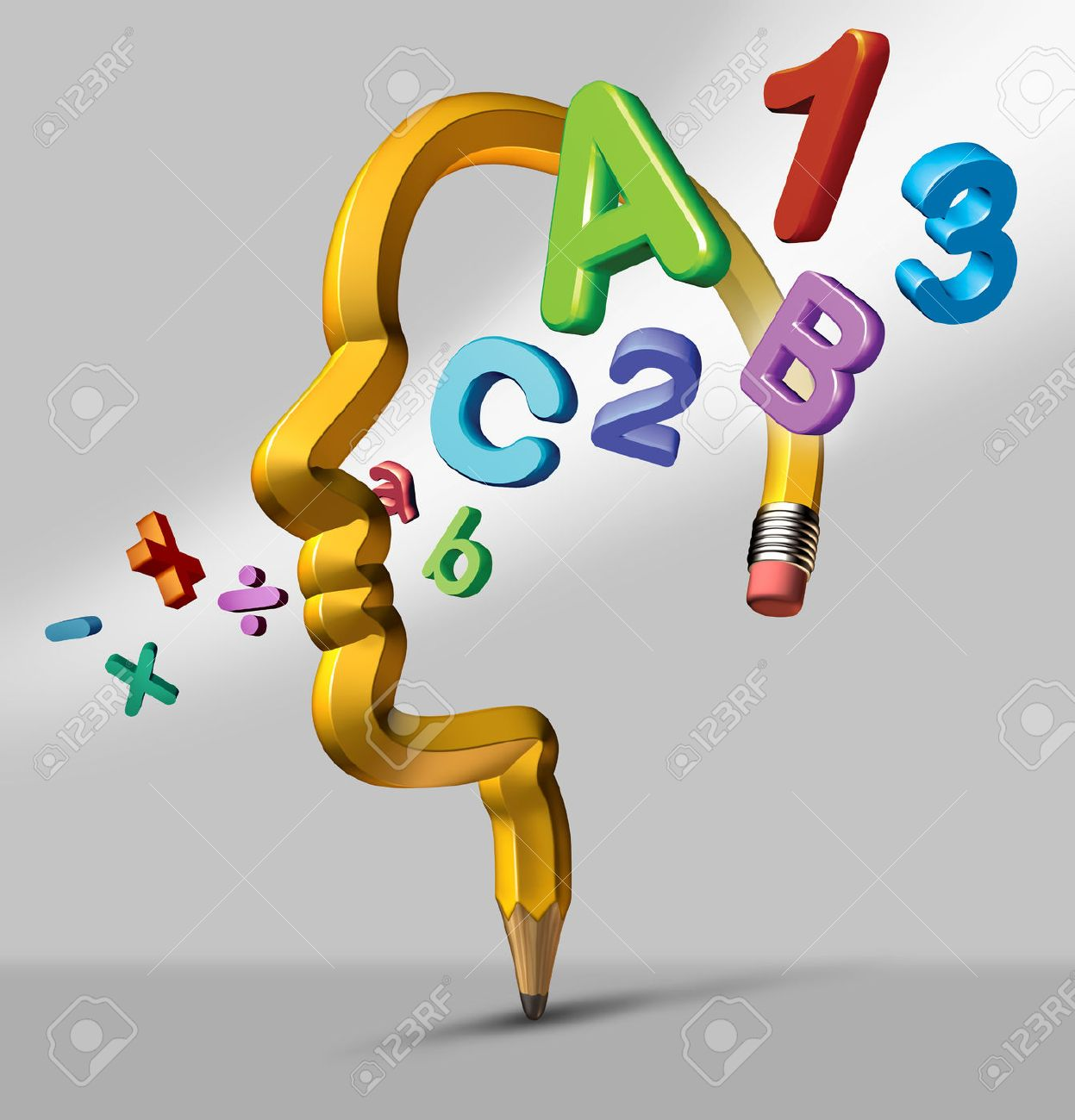 Learning and education school concept with a yellow pencil in the shape of a human head with reading and math symbols flowing through the brain area as an icon of creative intellligent development and student achievement Stock Photo - 24467713