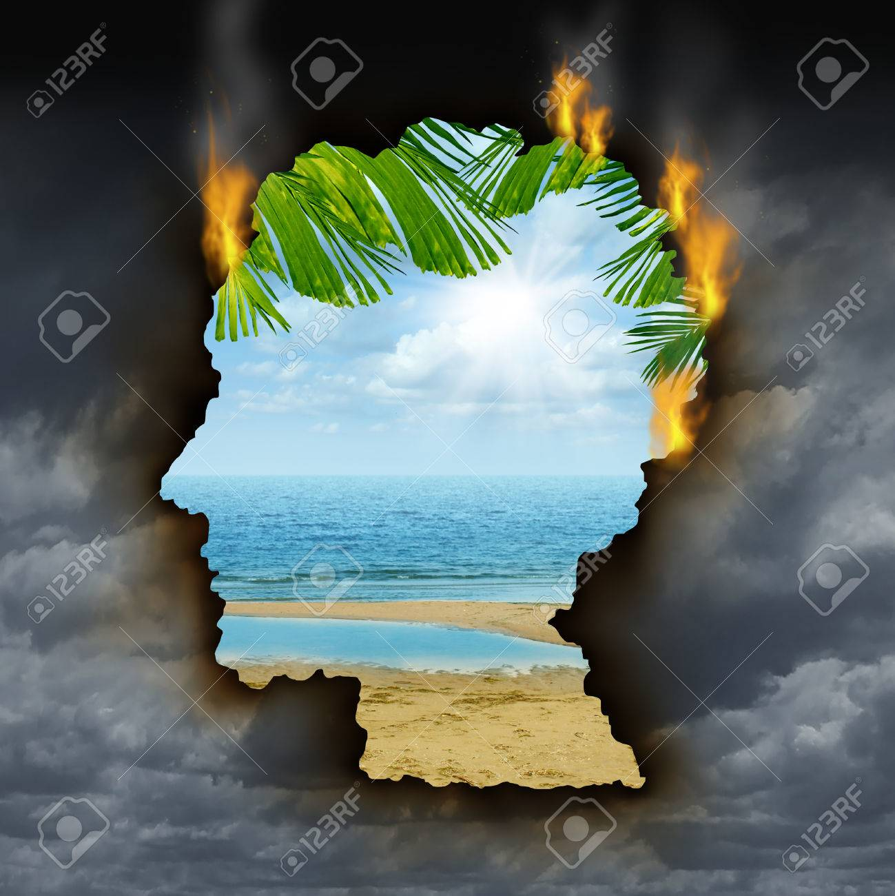 Human escape emotions and feelings concept with a dark grey storm sky burning a hole shaped as a head revealing a beautiful tropical landscape as a metaphor for brain relaxation to overcome depression stress and anxiety Stock Photo - 24809478