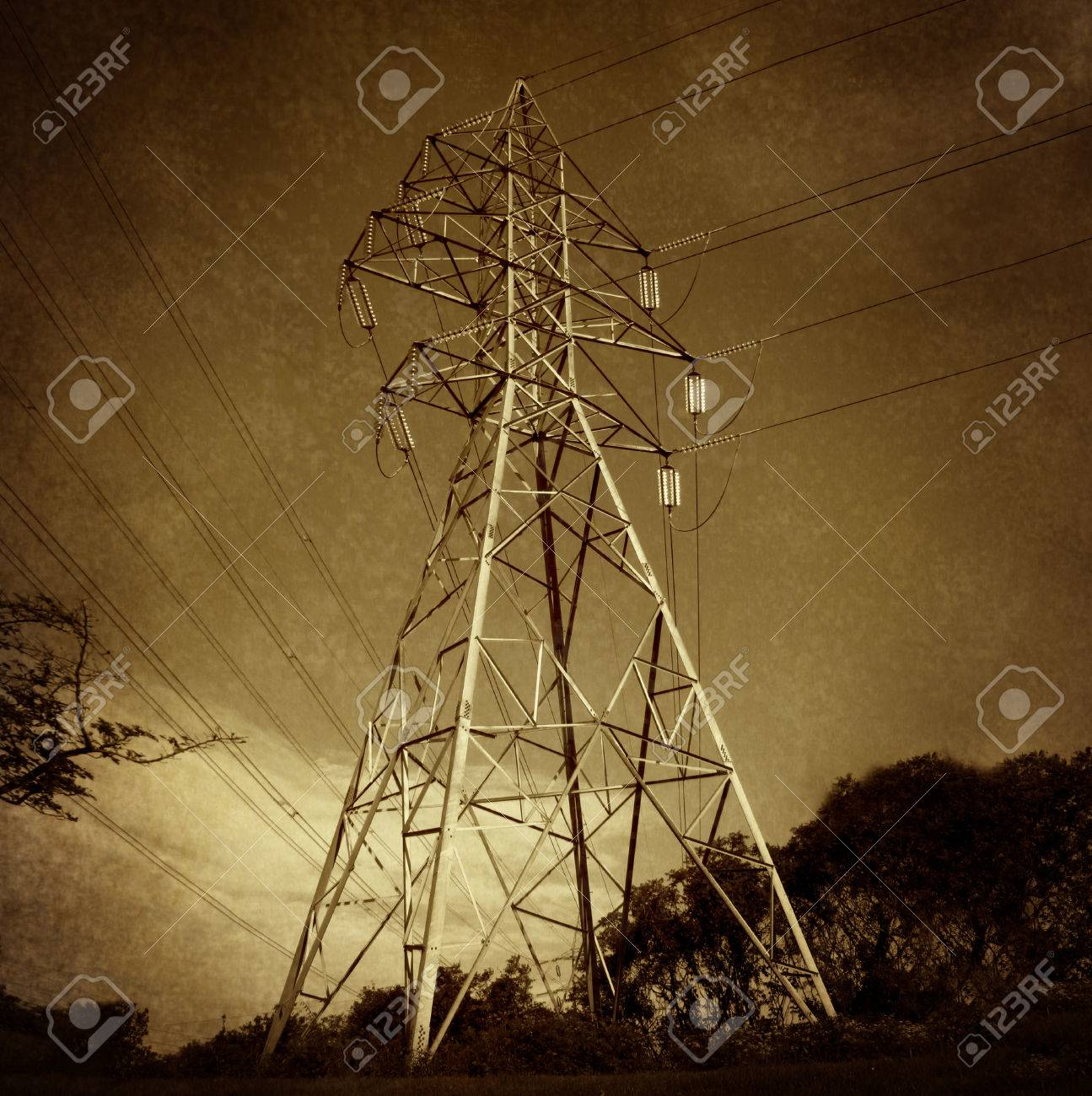 Electric power tower and electricity distribution network on electric power tower and electricity distribution network on a grunge vintage texture as a symbol of biocorpaavc Gallery