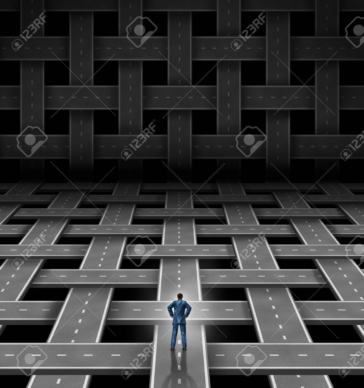 organisational images stock pictures royalty organisational network manager concept a businessman leader standing at a crossroad in front of