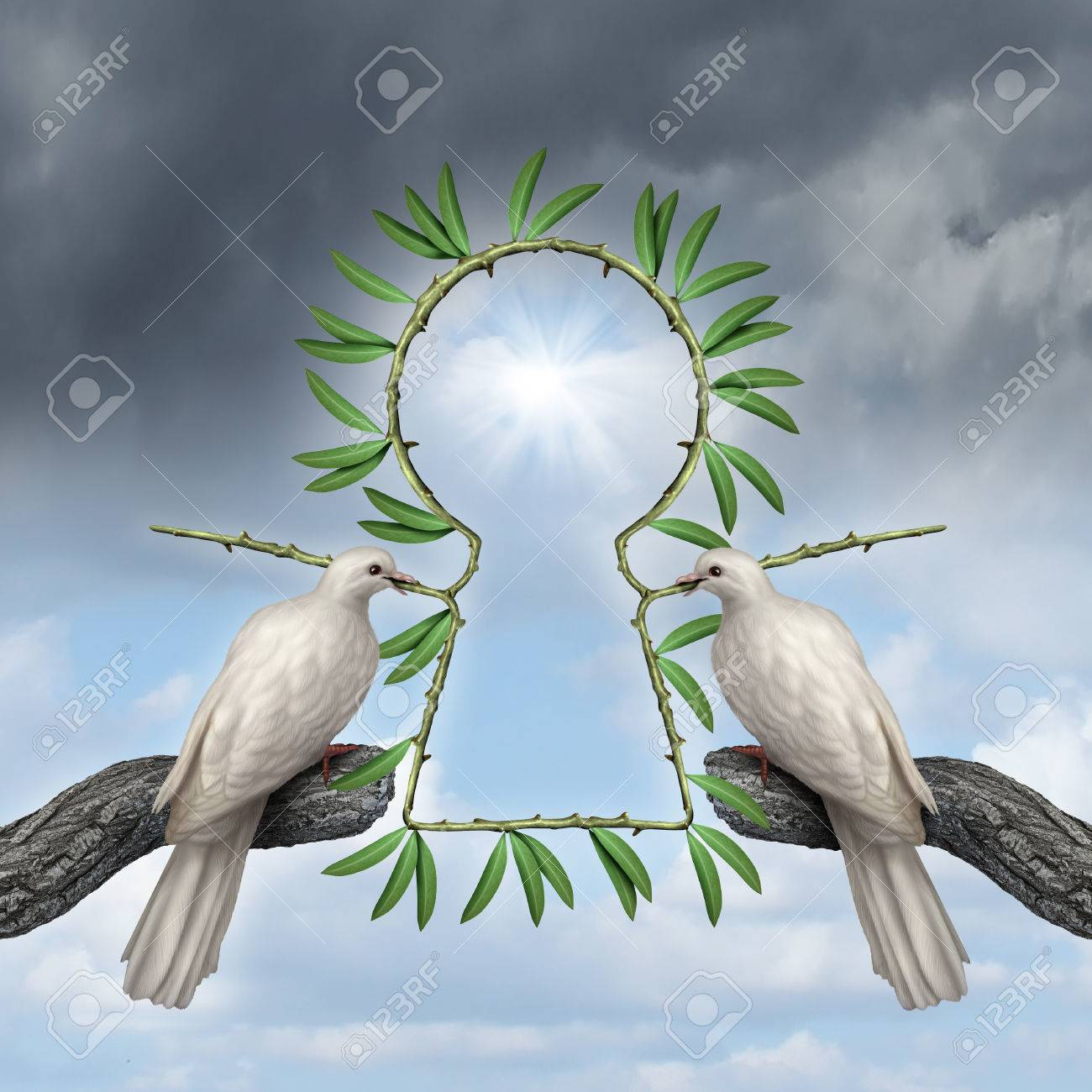Key To Peace Symbol As Two White Doves Coming Together With A