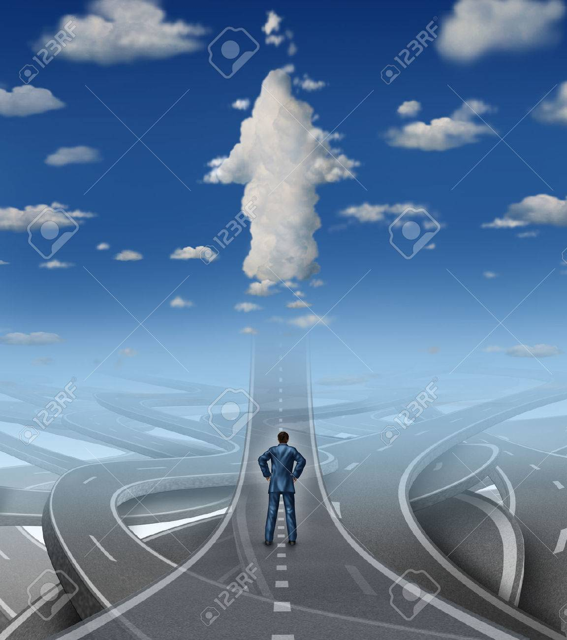 Career development business concept as a businessman standing in front of a group of tangled roads and streets with one straight highway leading to an arrow cloud as a metaphor for leadership vision overcoming stress and a confusion crisis - 28426369