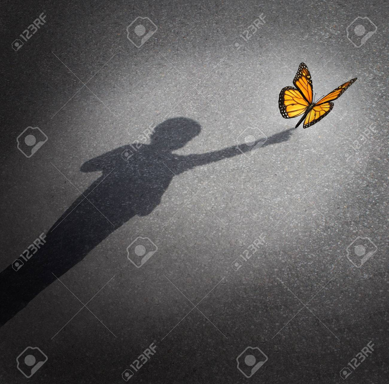 Wonder and discovery concept as a shadow of a child reaching out to touch a butterfly as an education and learning symbol of childhood curiosity and innocence towards nature and the world around them - 29457739