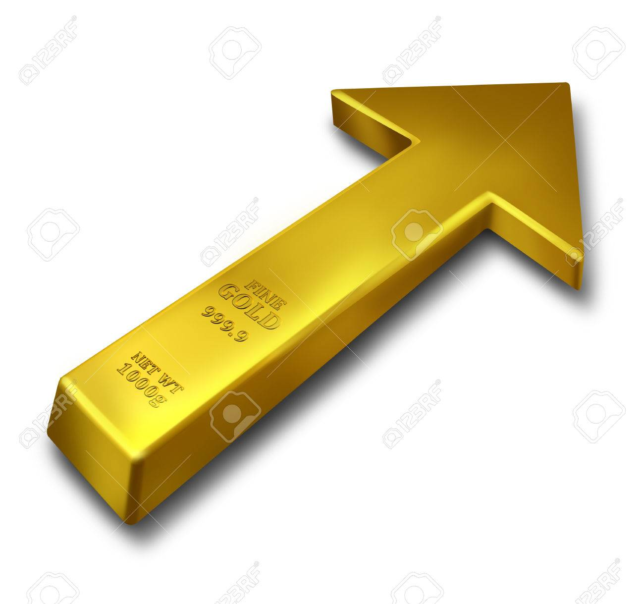 Gold rise business concept and commodities price increase symbol gold rise business concept and commodities price increase symbol as a bar of yellow precious metal buycottarizona Image collections