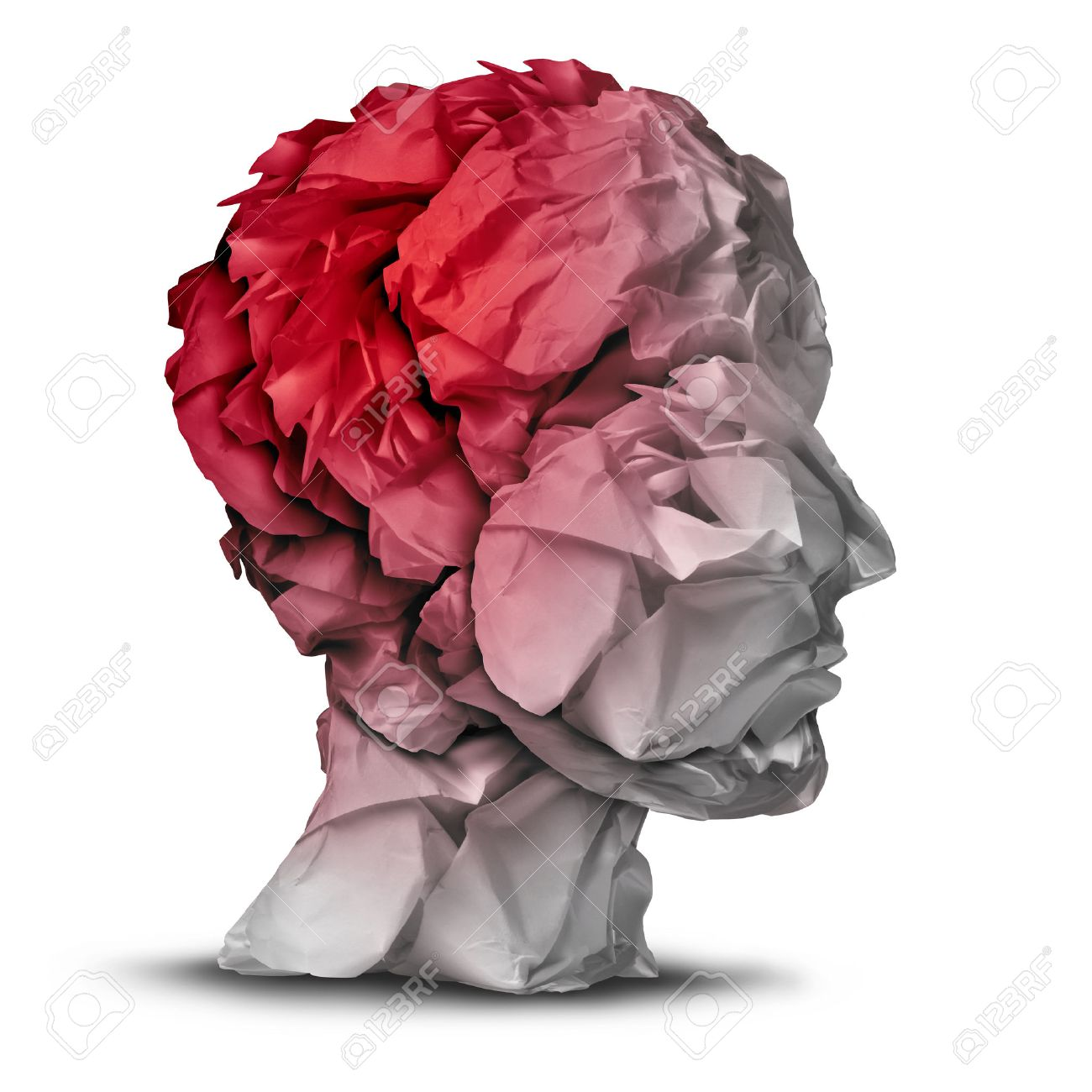 Head injury and traumatic brain accident medical and mental health care concept with a group of crumpled office paper shaped as a human mind with red highlighted area as a symbol of trauma problem - 30031239