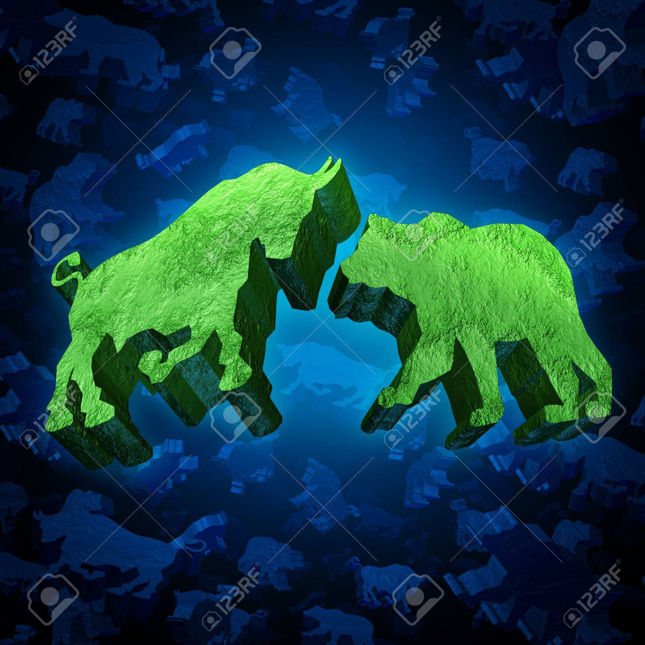 Stock market bull and bear investing symbol as a group of three stock market bull and bear investing symbol as a group of three dimensional trading icons as buycottarizona