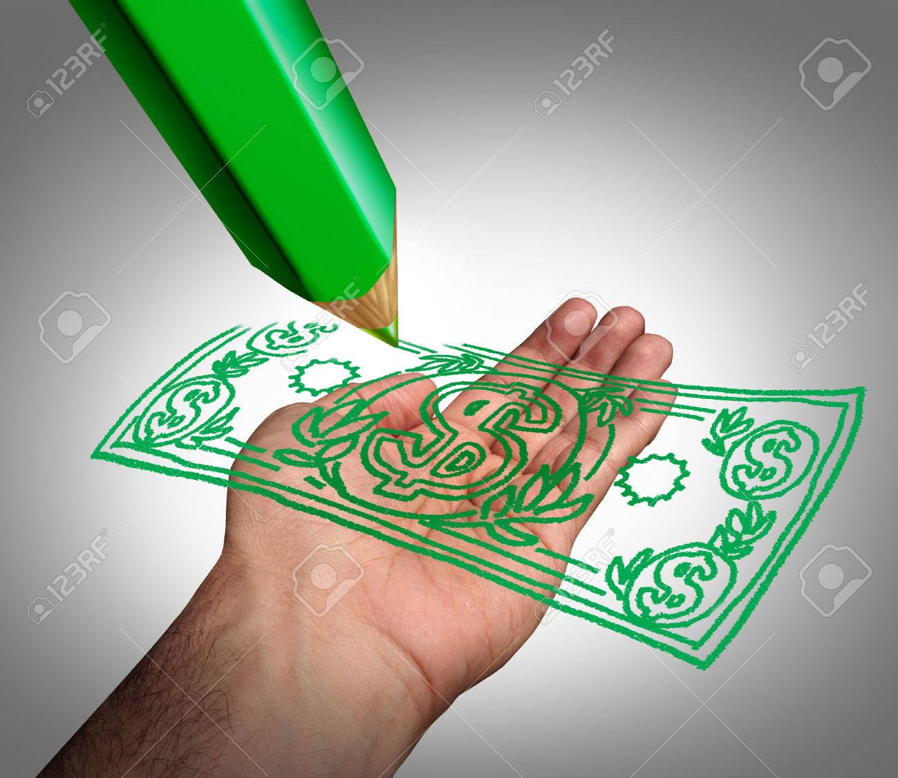 Making Money Business Concept As A Green Pencil Drawing A Dollar