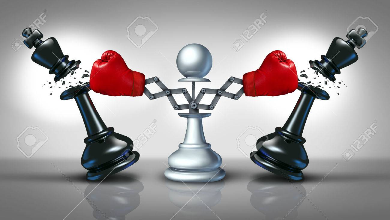 New competition business concept with a chess pawn punching and destroying competitors as two king pieces with hidden red boxing gloves - 31059717
