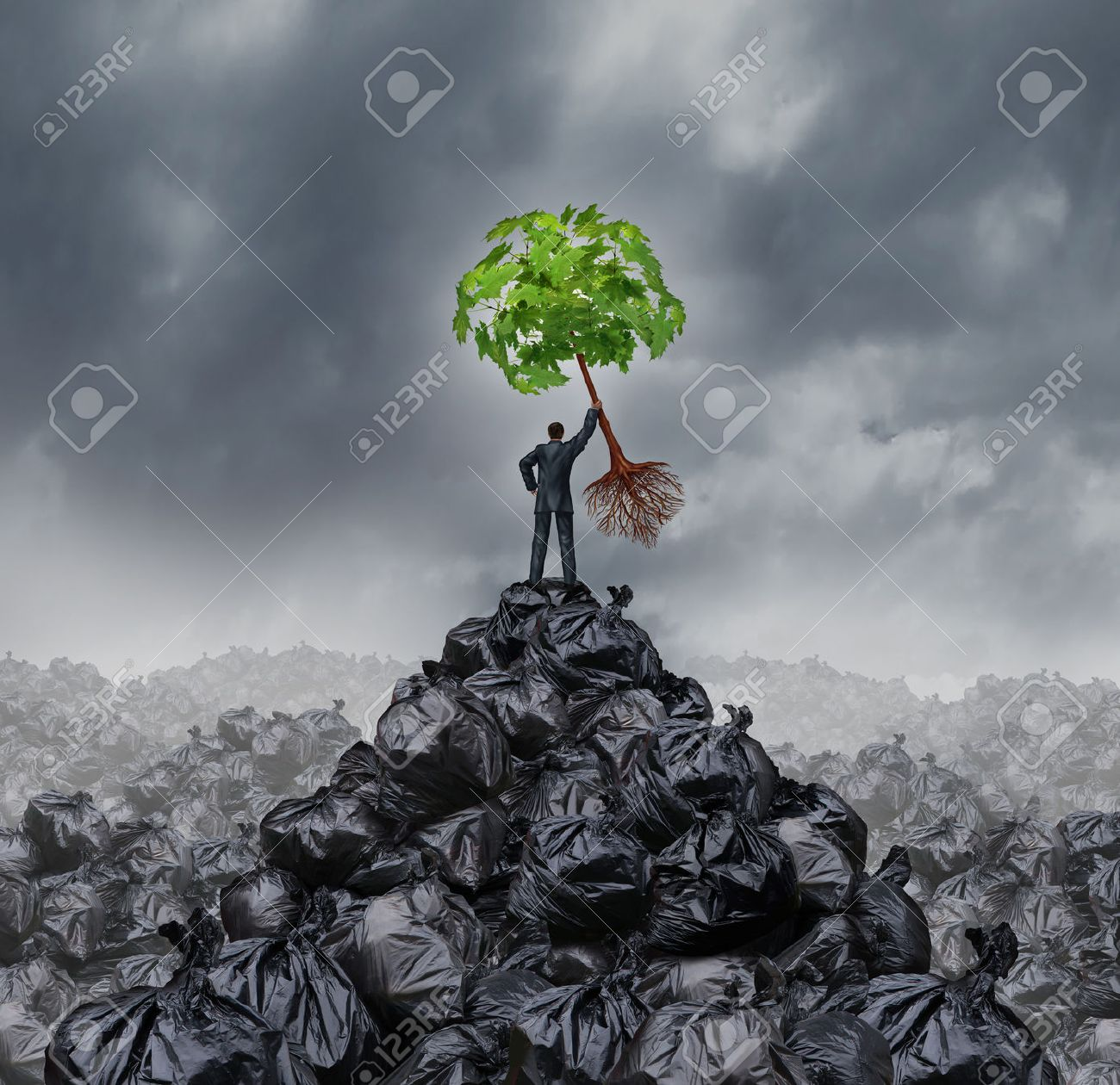 Grüne Geschäftskonzept Als Ein Mann Auf Einem Berg Müllhaufen Hält Ein  Grünes Blatt Baum Mit Wurzeln