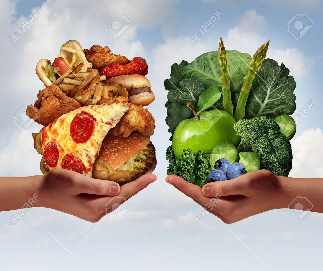 Nutrition Choice And Diet Decision Concept And Eating Choices Dilemma  Between Healthy Good Fresh Fruit And