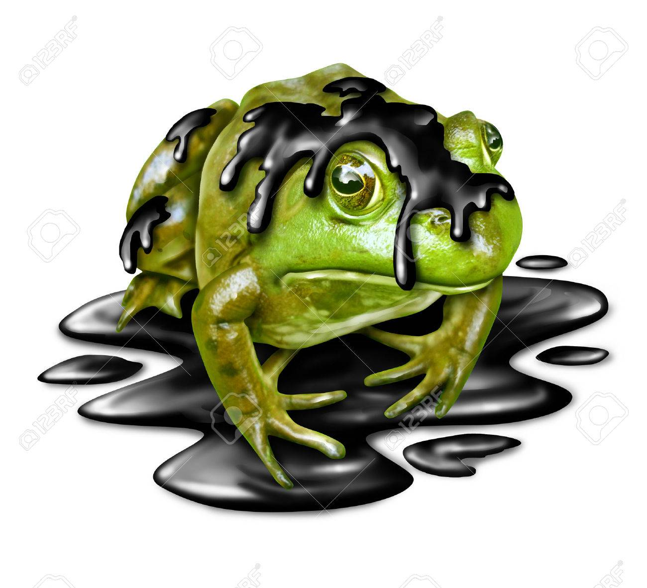 oil disaster victim concept as a dirty green frog with black stock rh 123rf com Toad and Boy Clip Art Snake Clip Art