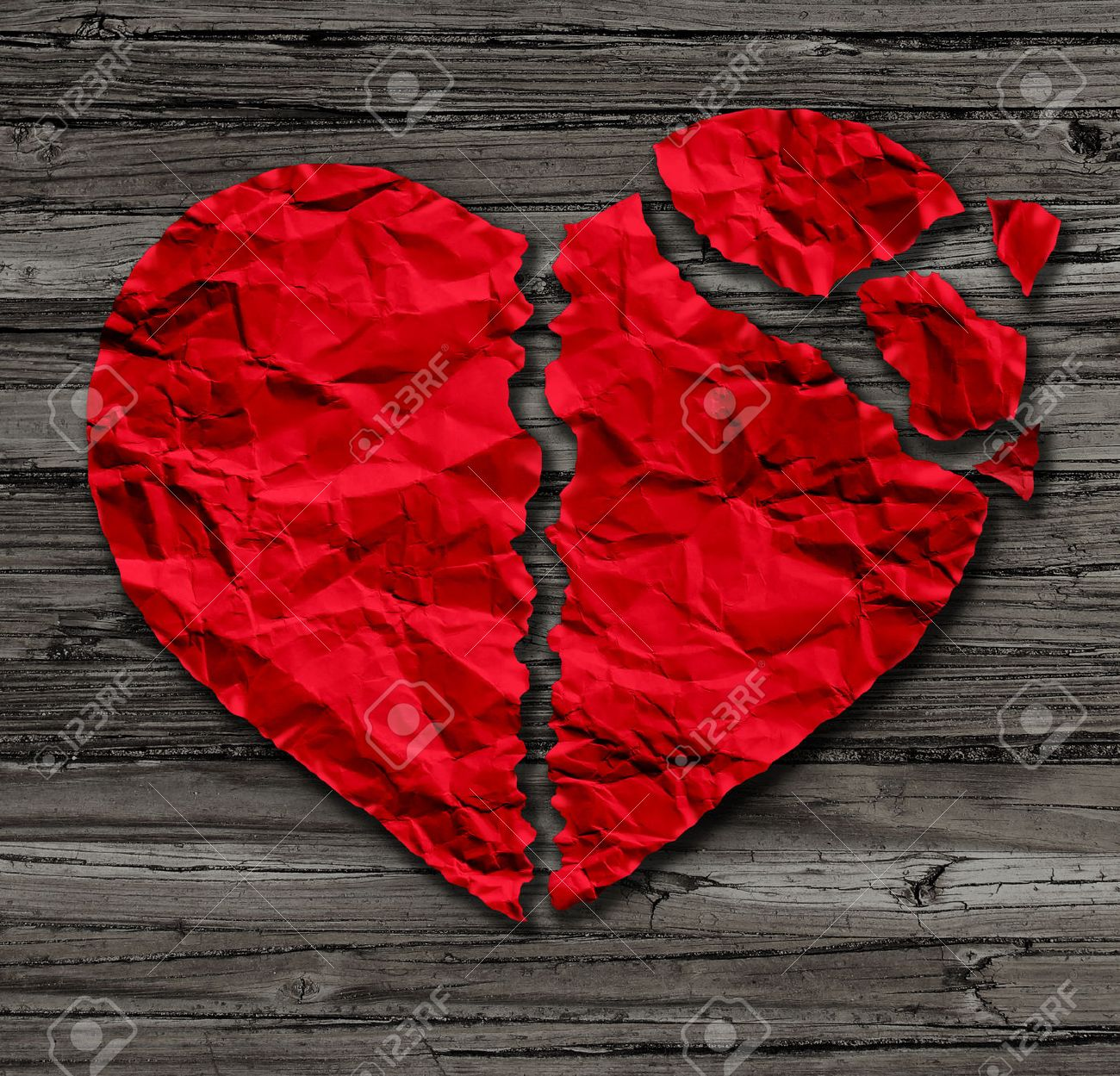 Broken Heart Breakup Concept As A Separation And Divorce Icon As Red