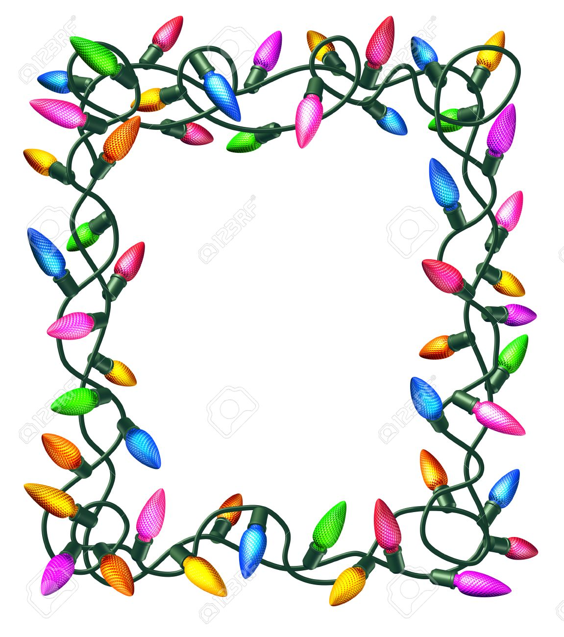 Christmas lights border - Christmas Lights Frame Isolated On A White Background As A Decorated Border With Illuminated Colourful Bulbs